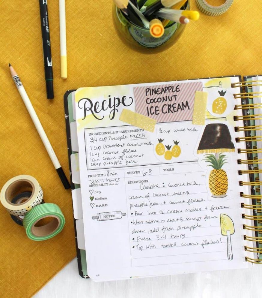 10+ Ideas for Recipes in your bullet journal | My Inner Creative - Recipes A Cooking Journal