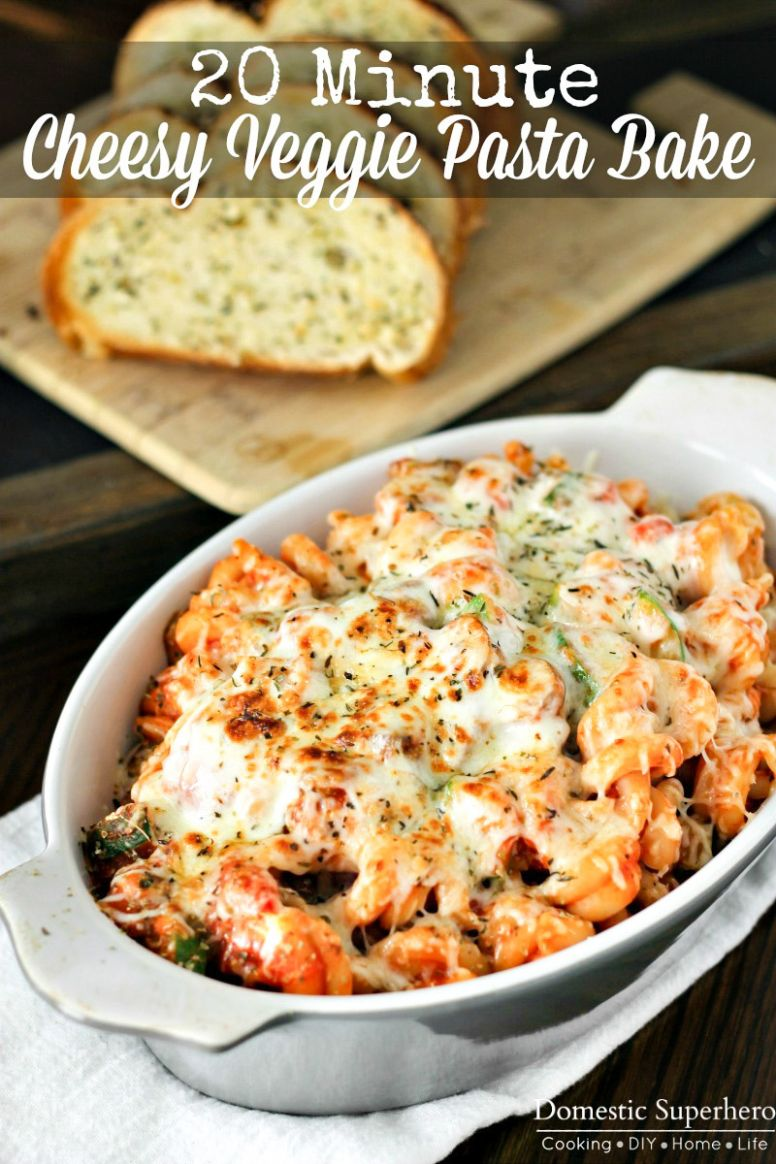 11 Minute Cheesy Vegetable Pasta Bake