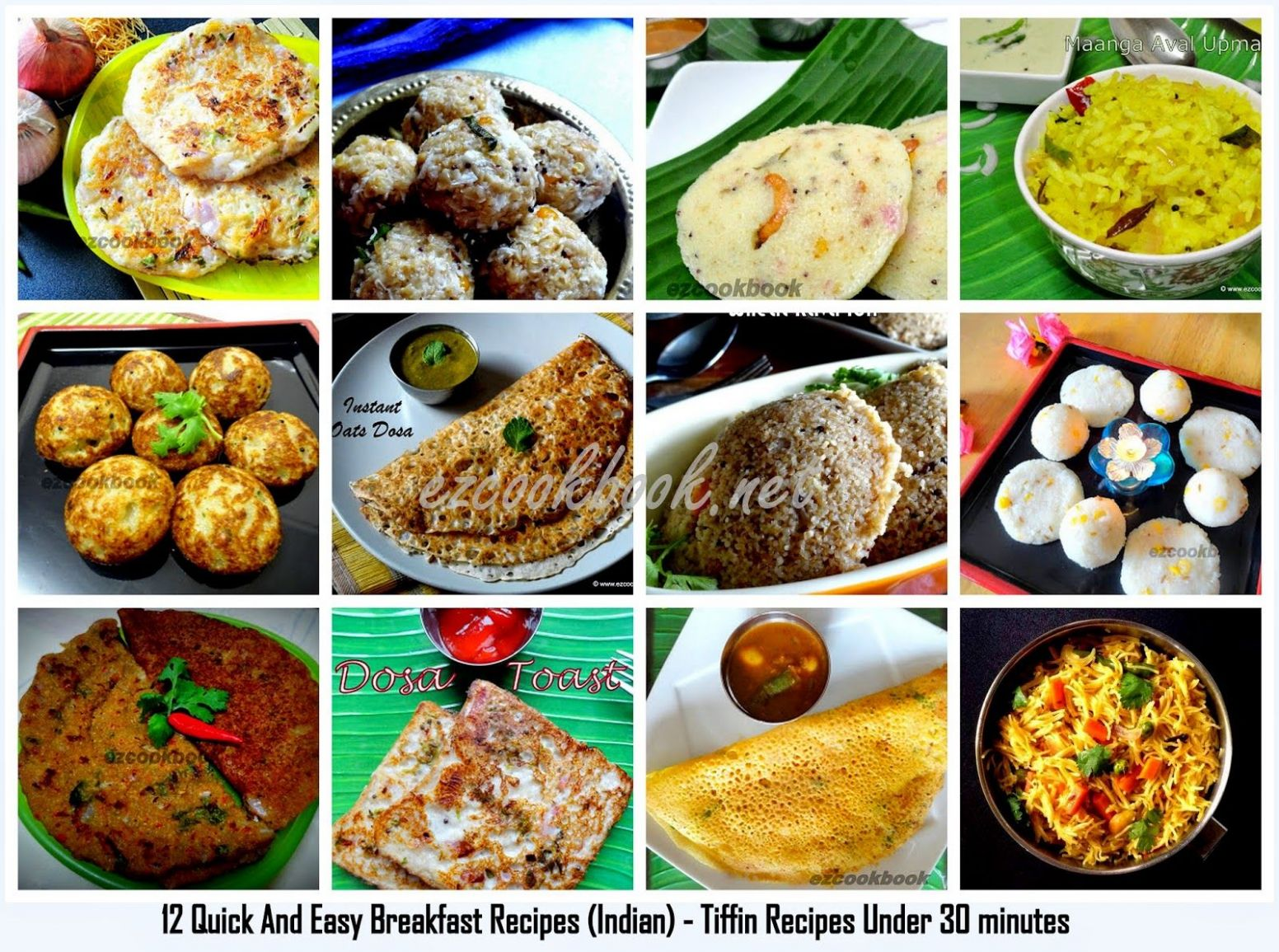 12 Quick And Easy Breakfast Recipes (Indian) - Tiffin Recipes ..