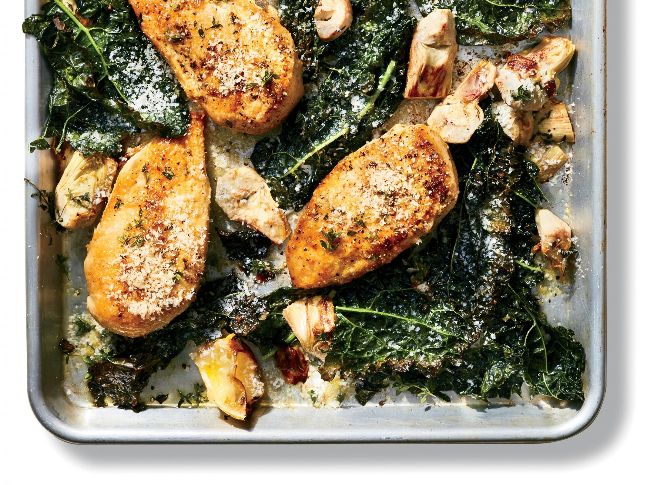 A One-Pan Lemon Chicken With Artichokes and Kale In 9 Minutes ...