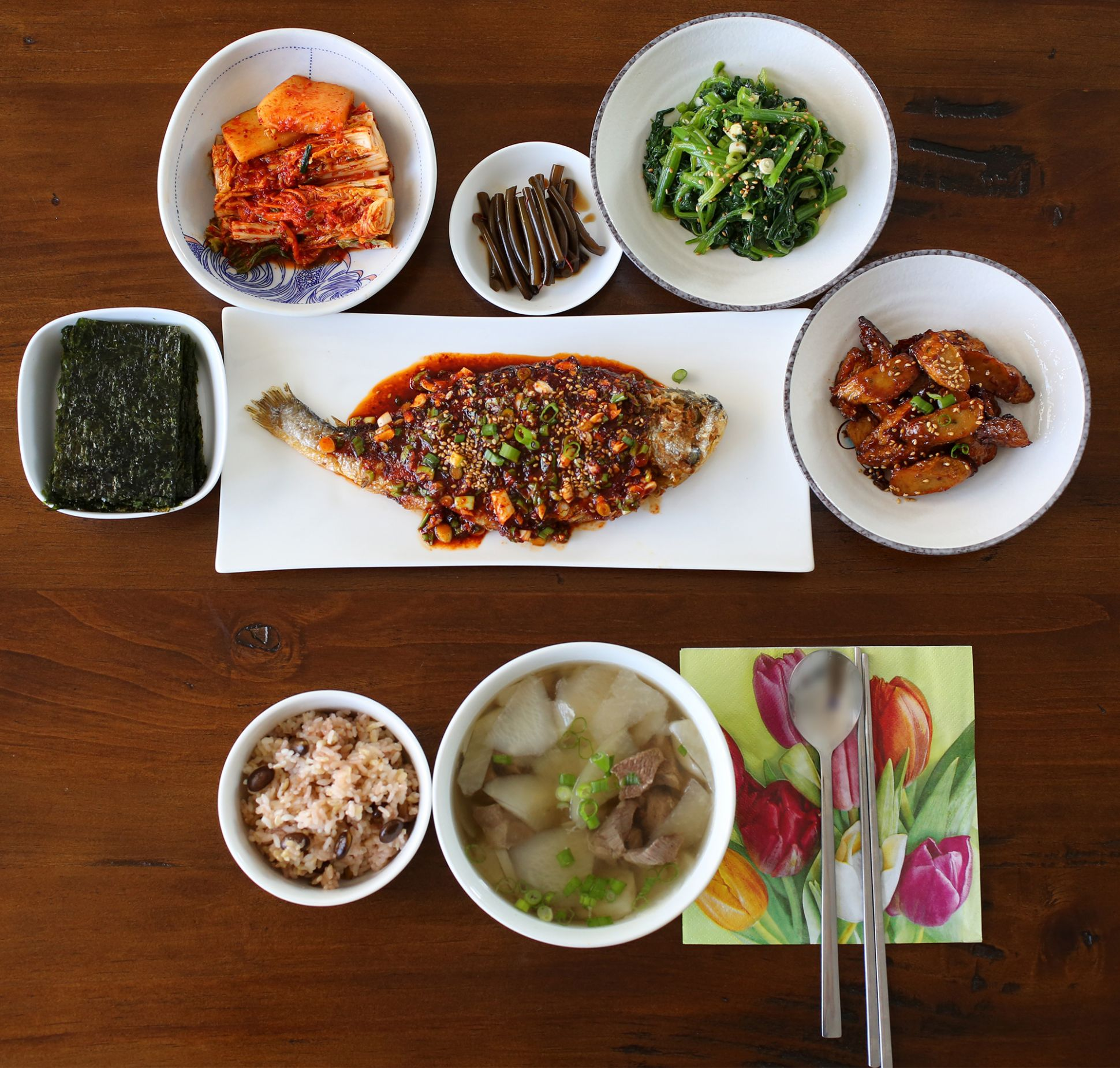 A typical Korean homestyle table setting - Maangchi