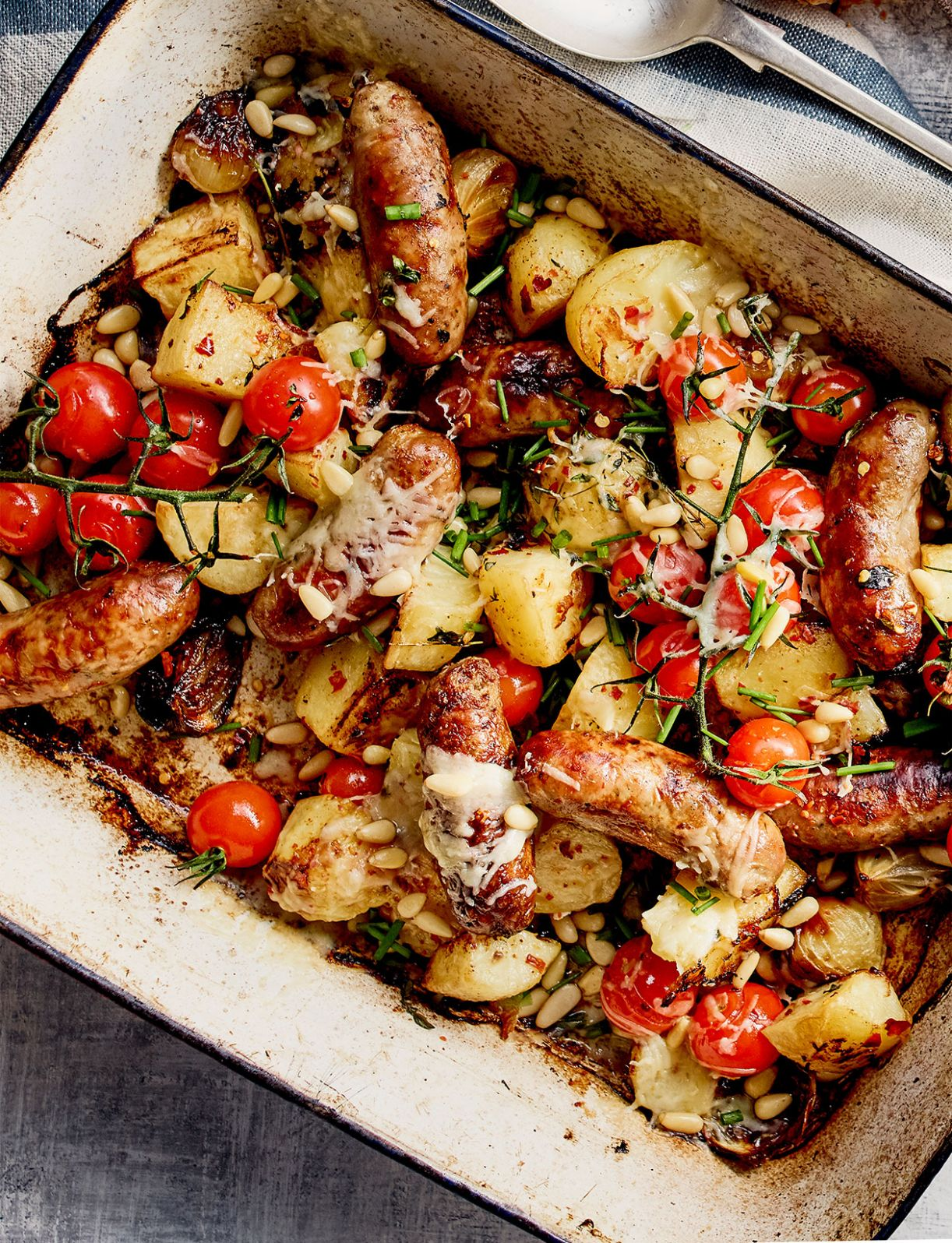 All-in one sausage and crispy potato bake - Potato Recipes Uk