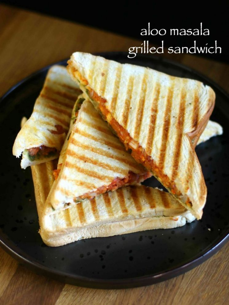 aloo masala grilled sandwich recipe | potato grilled sandwich recipe