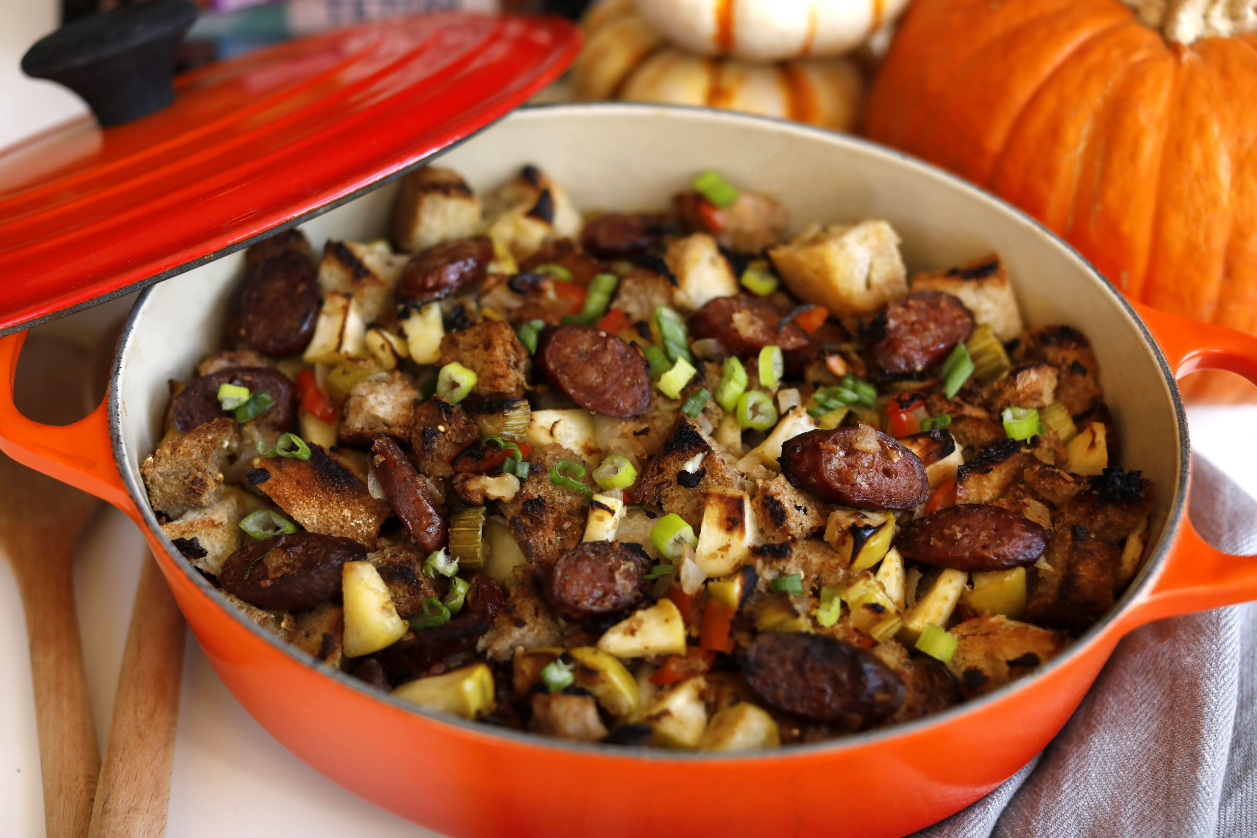 Apple Walnut Grass-Fed Beef Sausage Stuffing - Teton Waters Ranch - Recipes Beef Sausages