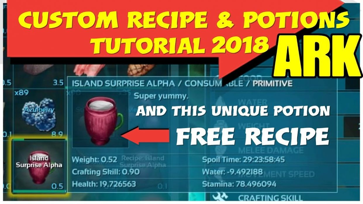 ARK Custom Recipe How To & Free Recipe Potion to BOOST Stats - Cooking Recipes Ark