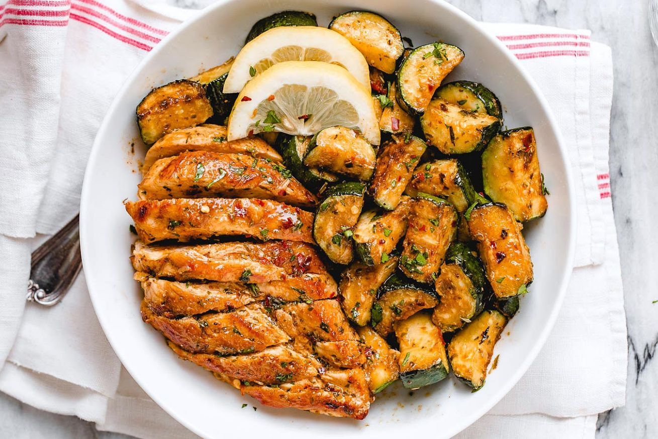 Asado Chicken and Sauteed Lemon Zucchini