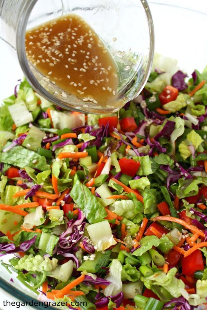 Asian Chopped Salad with Sesame Vinaigrette - Salad Recipes Asian