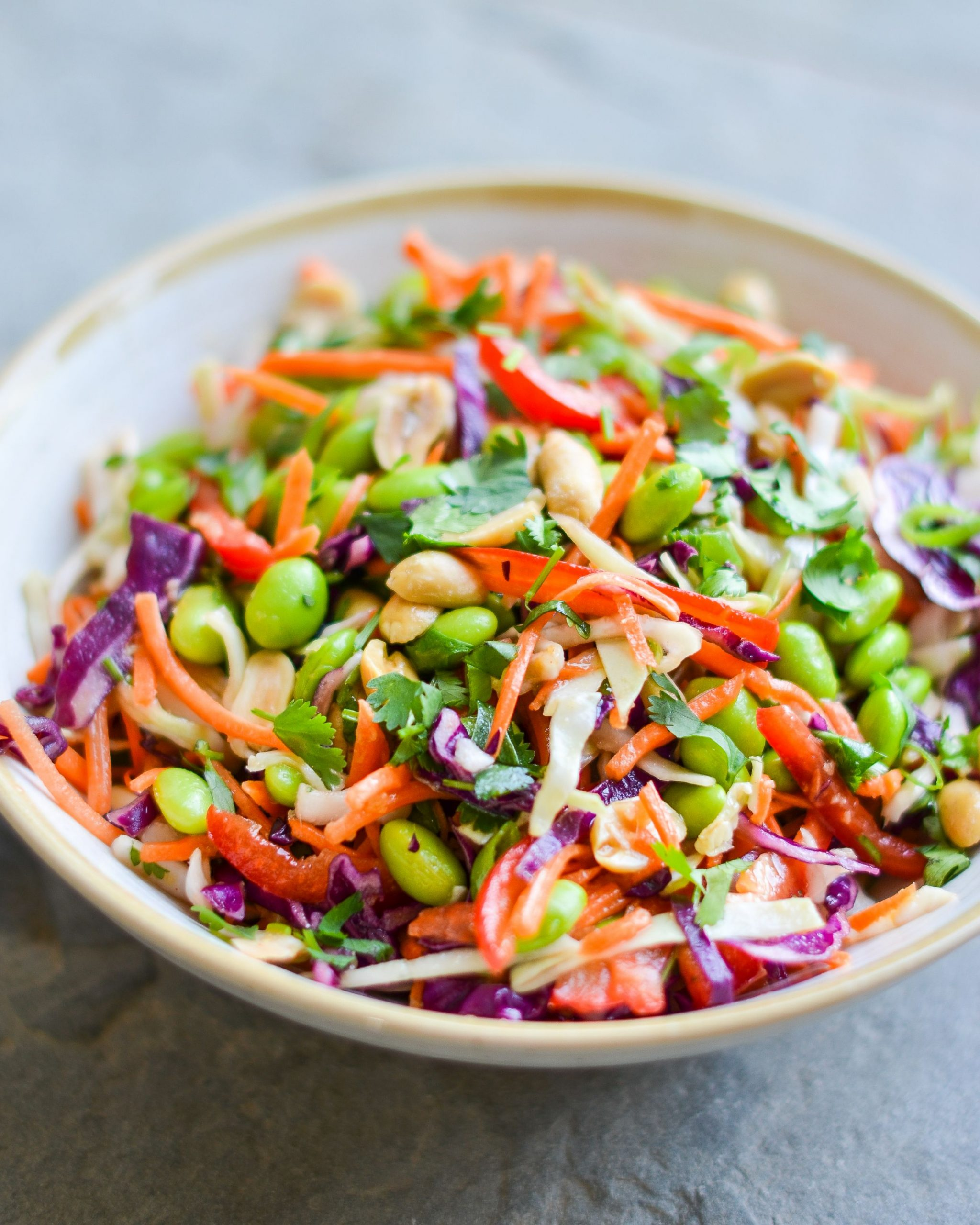 Asian Slaw with Ginger-Peanut Dressing - Vegetarian Recipes Asian