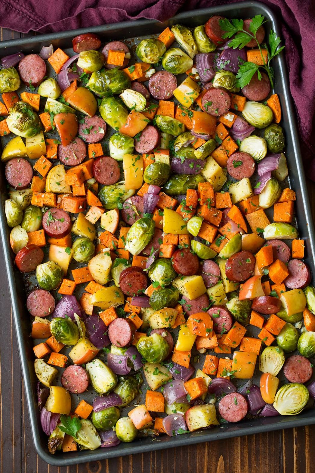 Autumn Sausage Veggie and Apple Sheet Pan Dinner - Cooking Classy - Dinner Recipes Apple