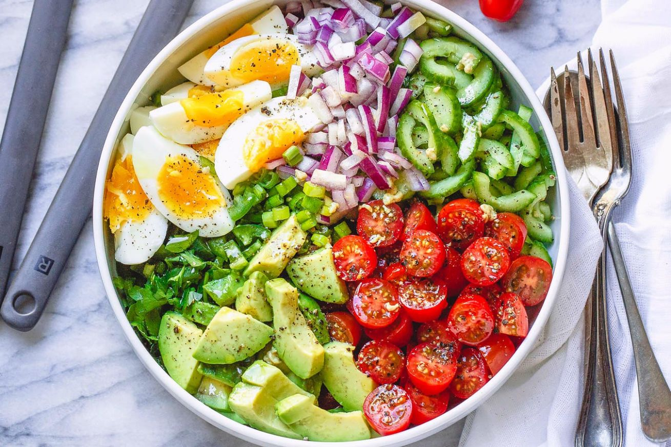 Avocado Salad with Tomato, Eggs and Cucumber