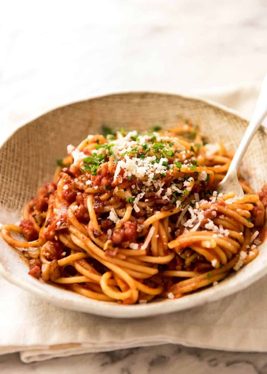 Bacon Pasta with tomato pasta sauce