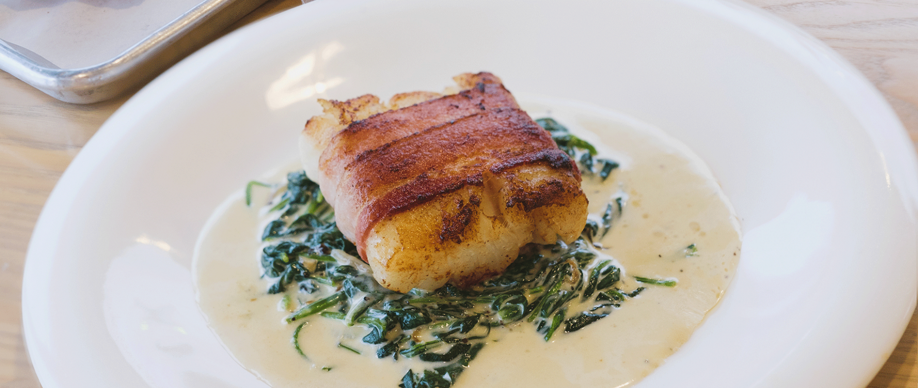 Bacon-wrapped Cod with Creamed Spinach