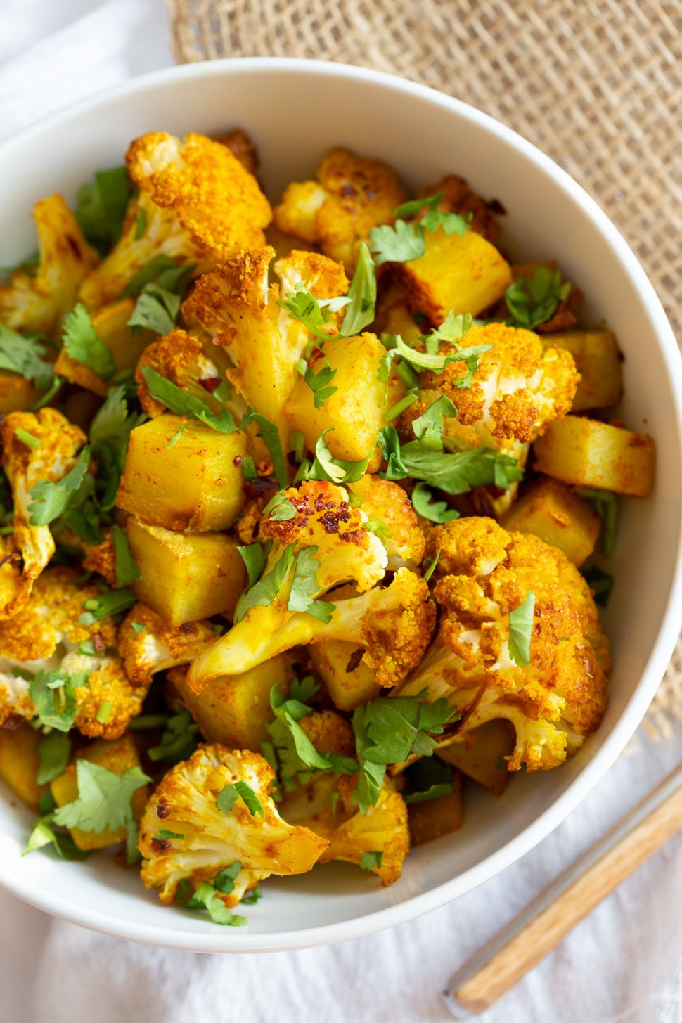 Baked Aloo Gobi Vegan Recipe (Indian Spiced Potato Cauliflower)