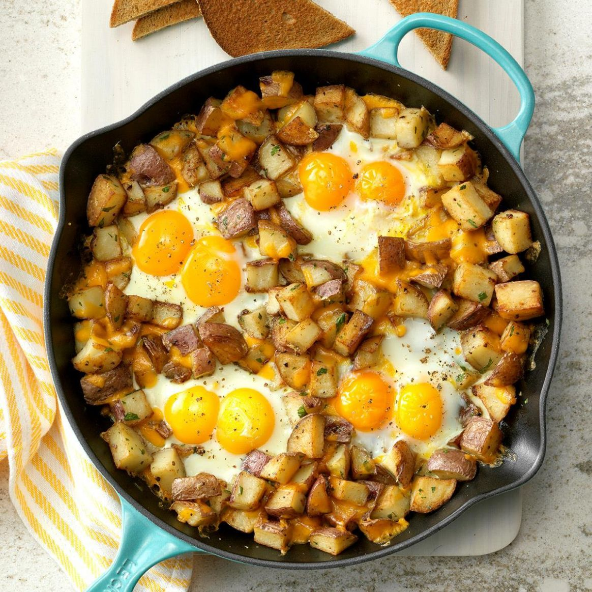Baked Cheddar Eggs & Potatoes - Breakfast Recipes With Eggs
