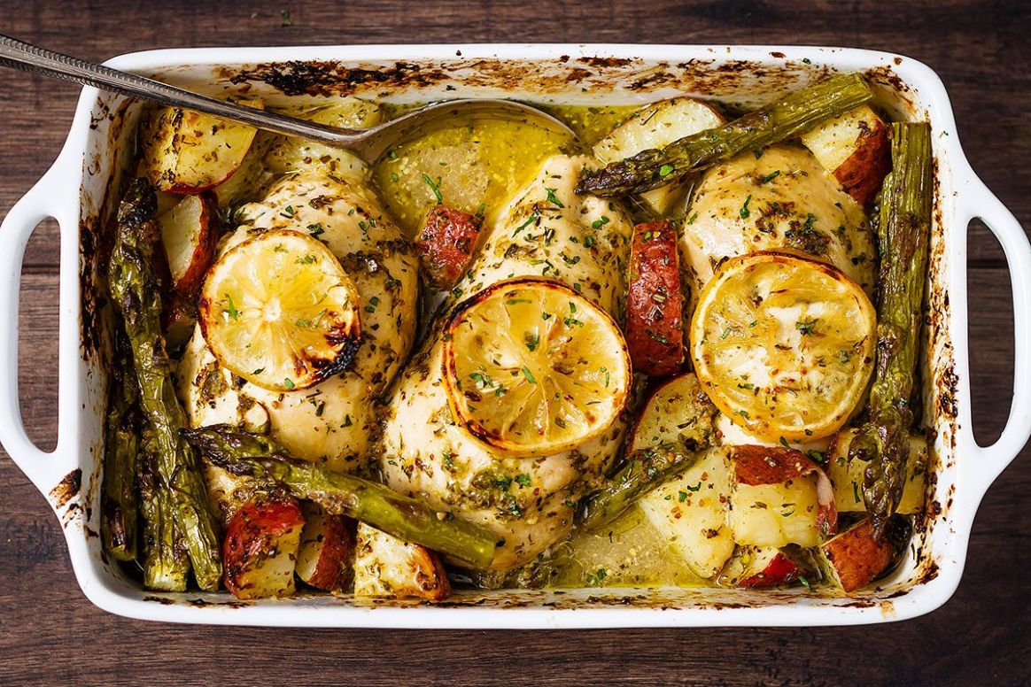 Baked Chicken Breasts with Lemon & Veggies - Recipe Chicken Breast Roasted Vegetables
