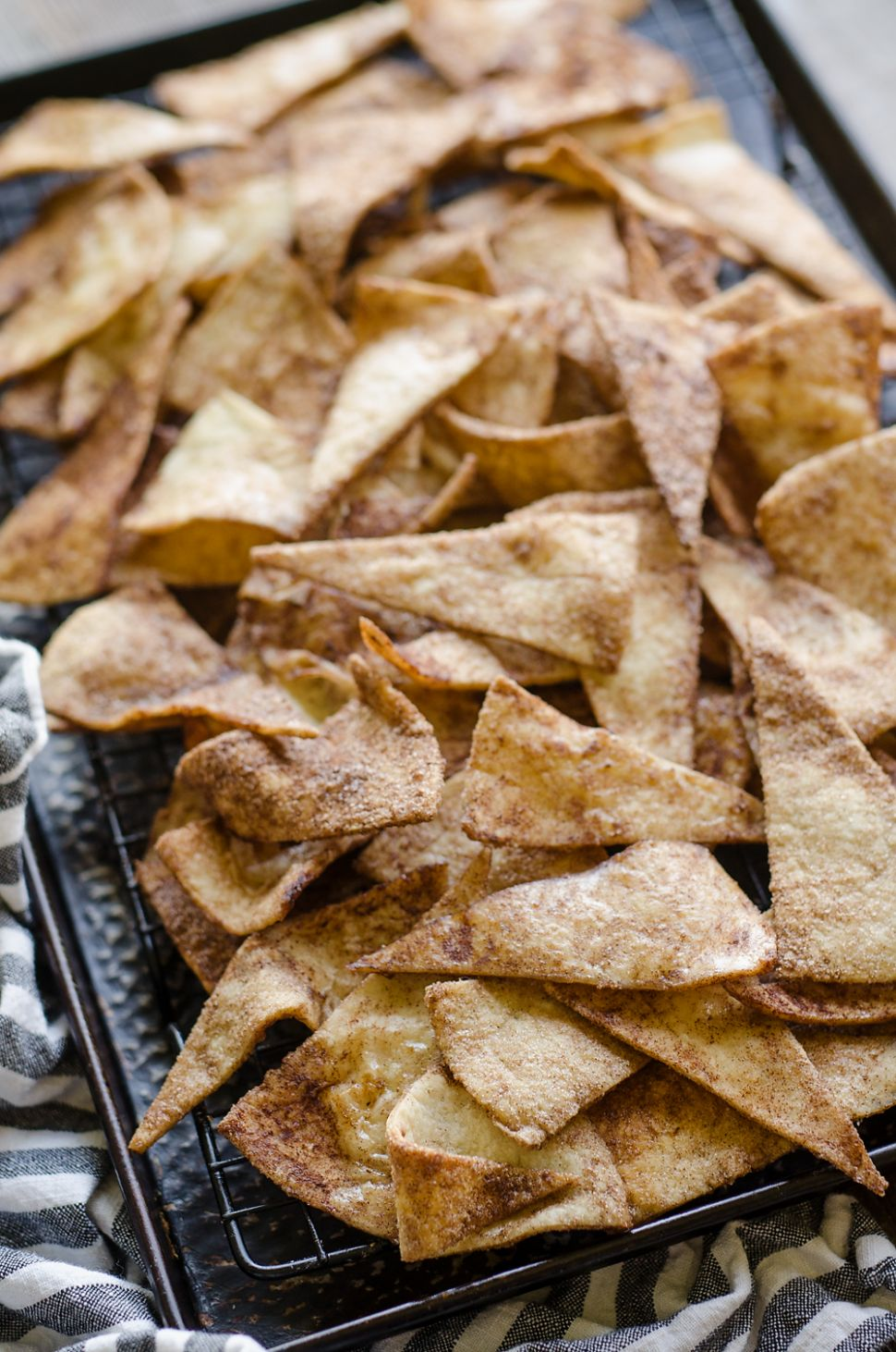 Baked Cinnamon Sugar Tortilla Chips - Homemade Snack - Dessert Recipes Using Flour Tortillas