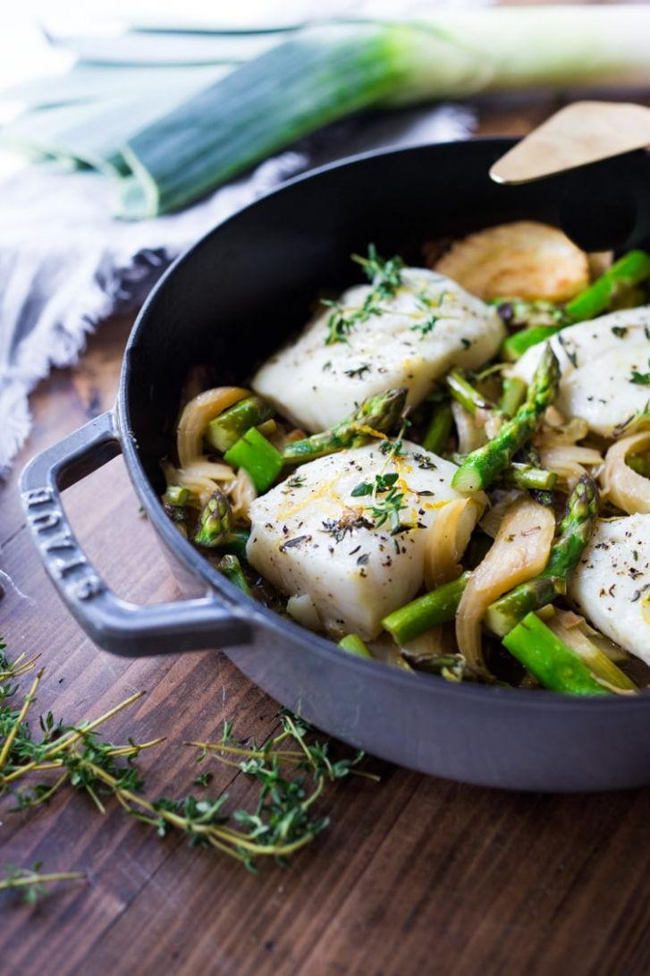 Baked Cod with Asparagus, Fennel & Leeks | Feasting At Home - Recipe Fish Leeks