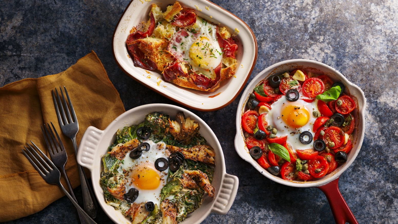 Baked eggs three ways - Breakfast Recipes Bbc
