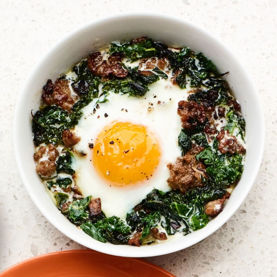 Baked Eggs with Sausage & Kale - Rachael Ray In Season - Recipe Egg Kale
