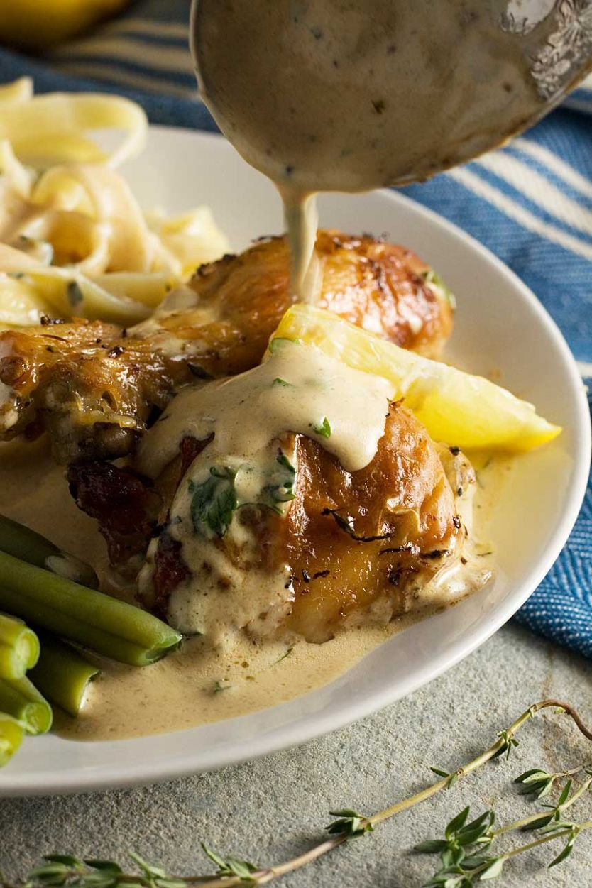 Baked lemon chicken with yogurt sauce (one pot meal)