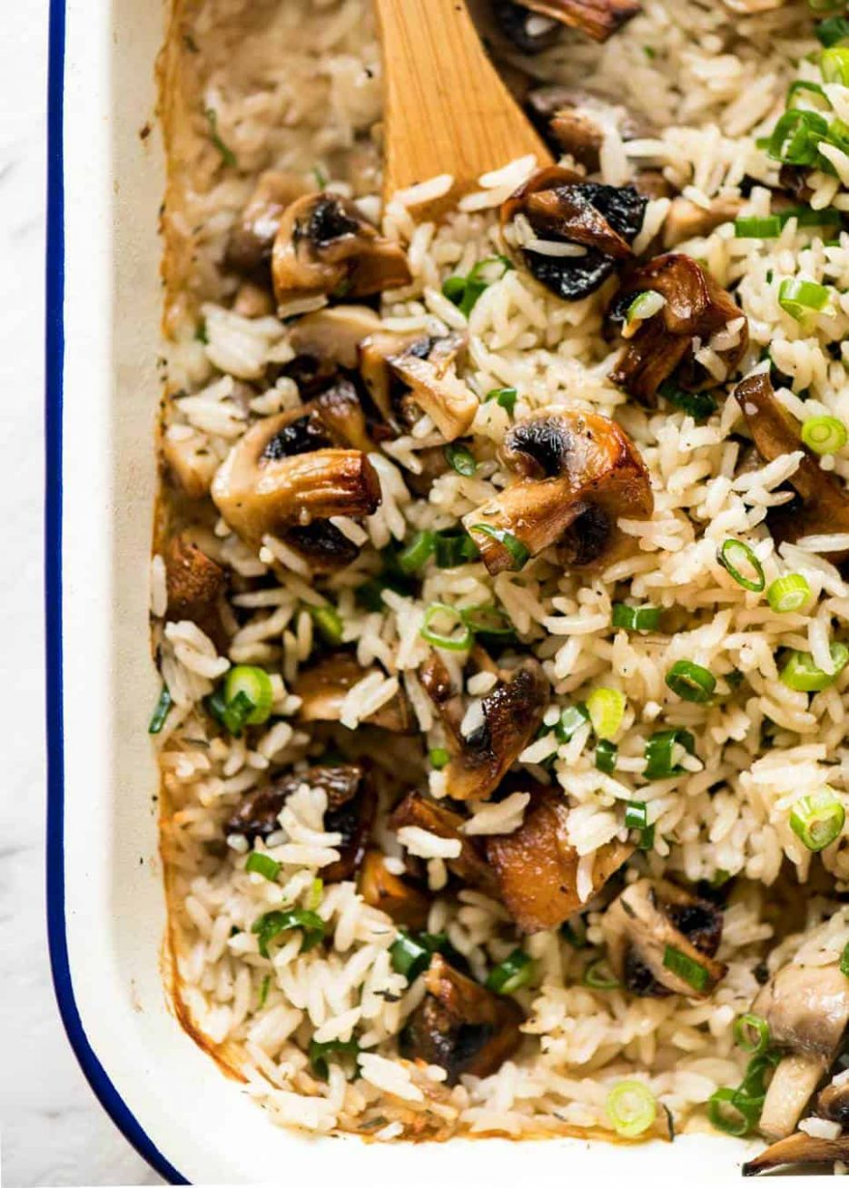 Baked Mushroom Rice - Recipes Rice Mushrooms