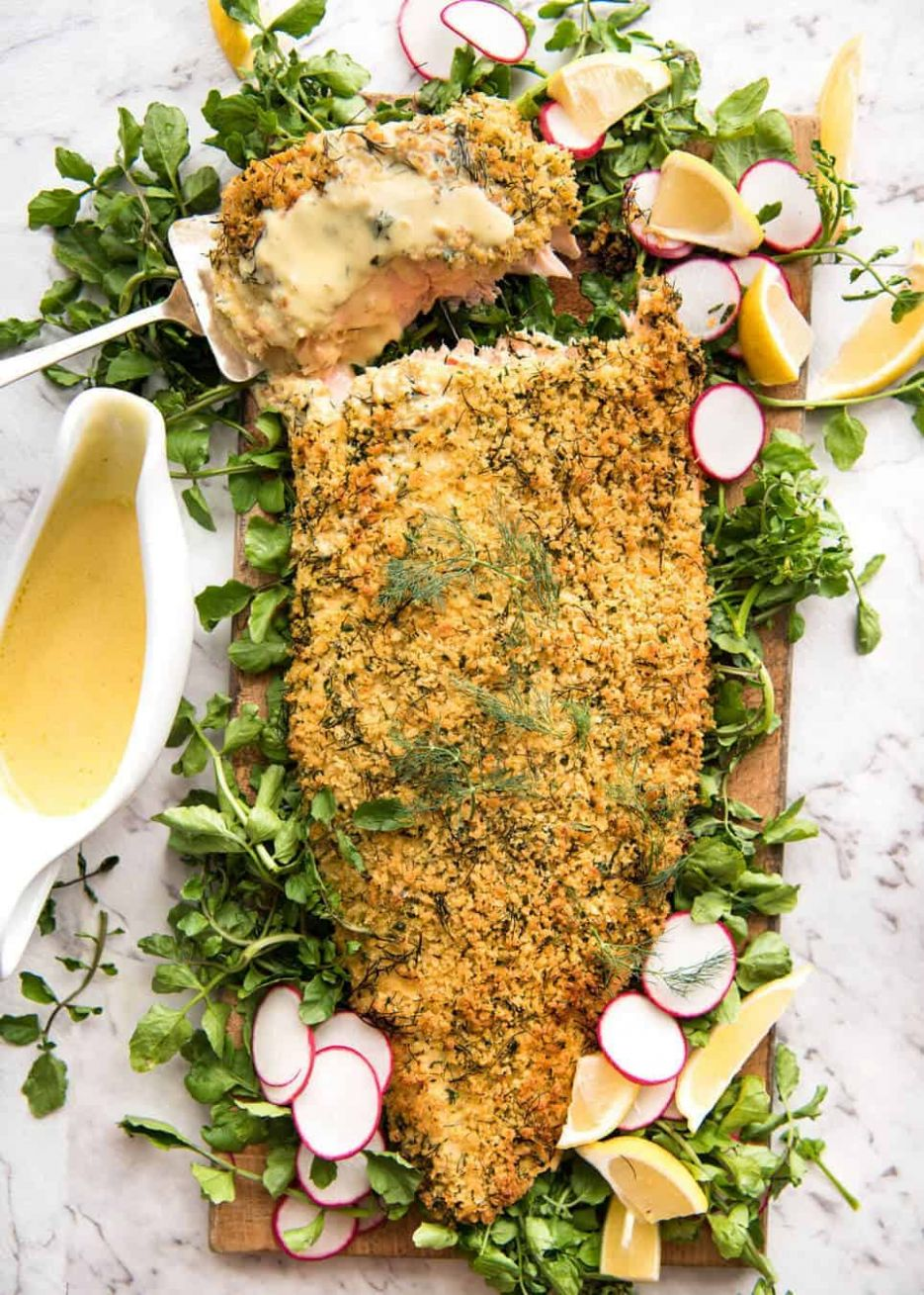 Baked Parmesan Crusted Salmon with Lemon Cream Sauce | RecipeTin Eats - Salmon Recipes For Xmas Dinner
