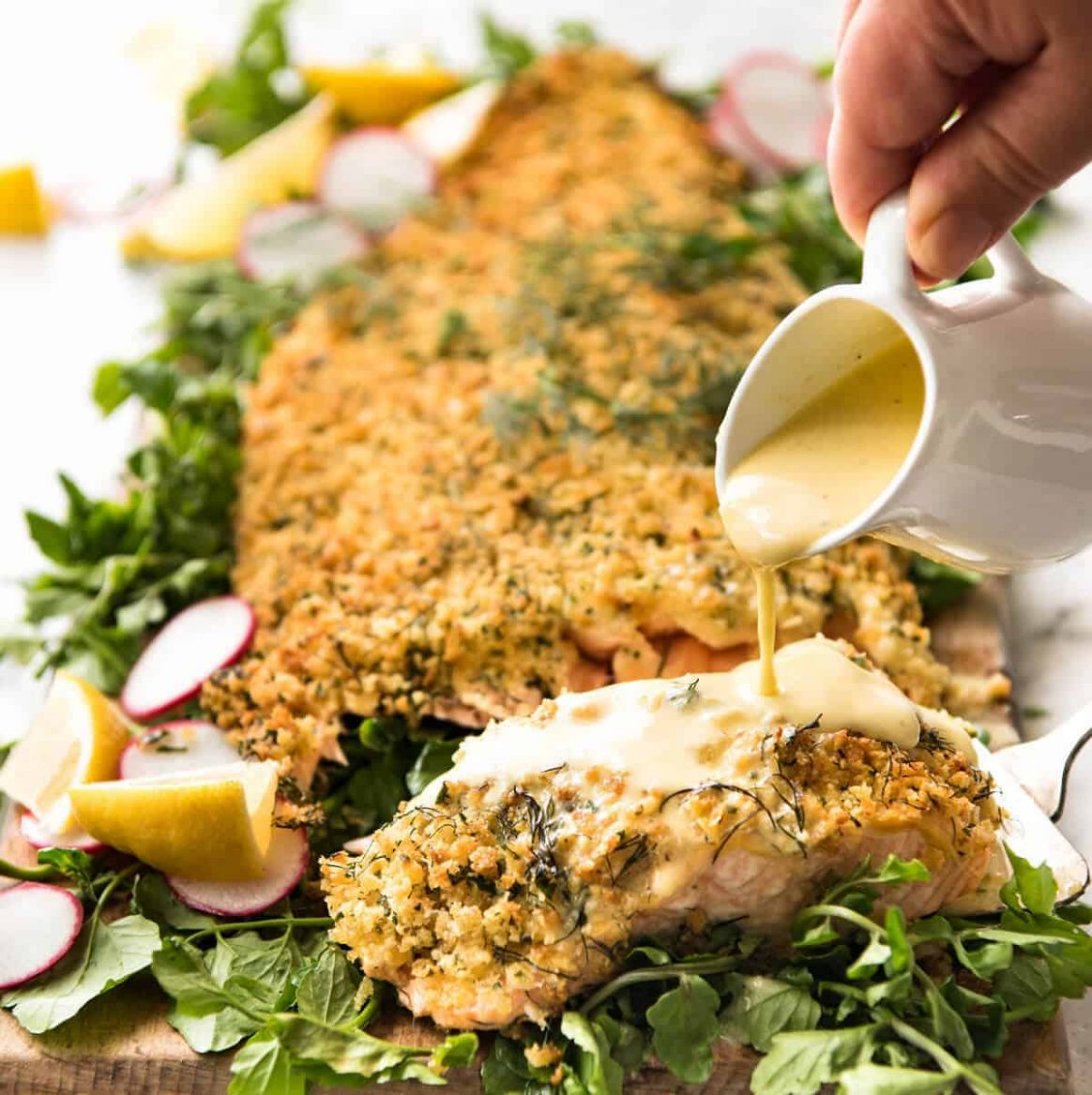 Baked Parmesan Crusted Salmon with Lemon Cream Sauce - Salmon Recipes For Xmas Dinner