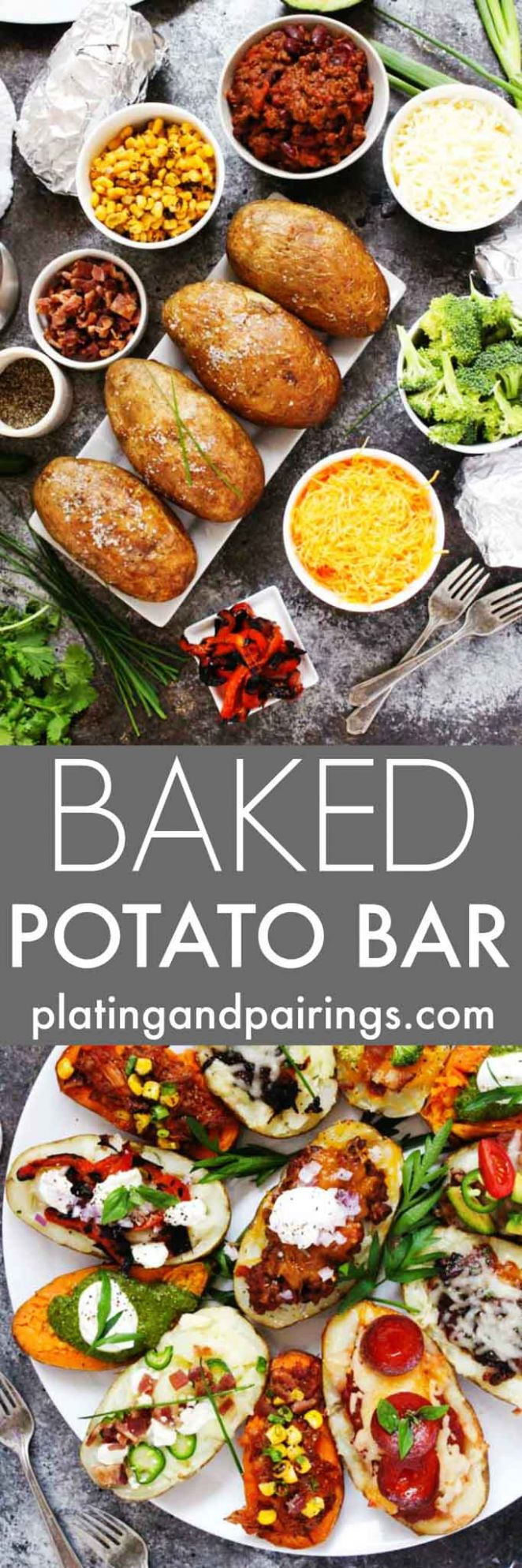 Baked Potato Bar // How To with Free Printable | Platings + Pairings - Recipes Potato Bar