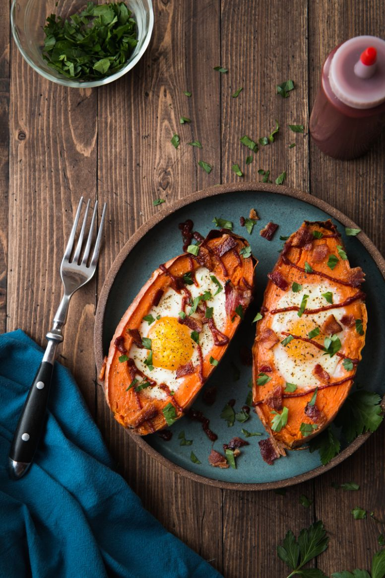Baked Sweet Potato & Egg Breakfast Boats - Will Cook For Friends