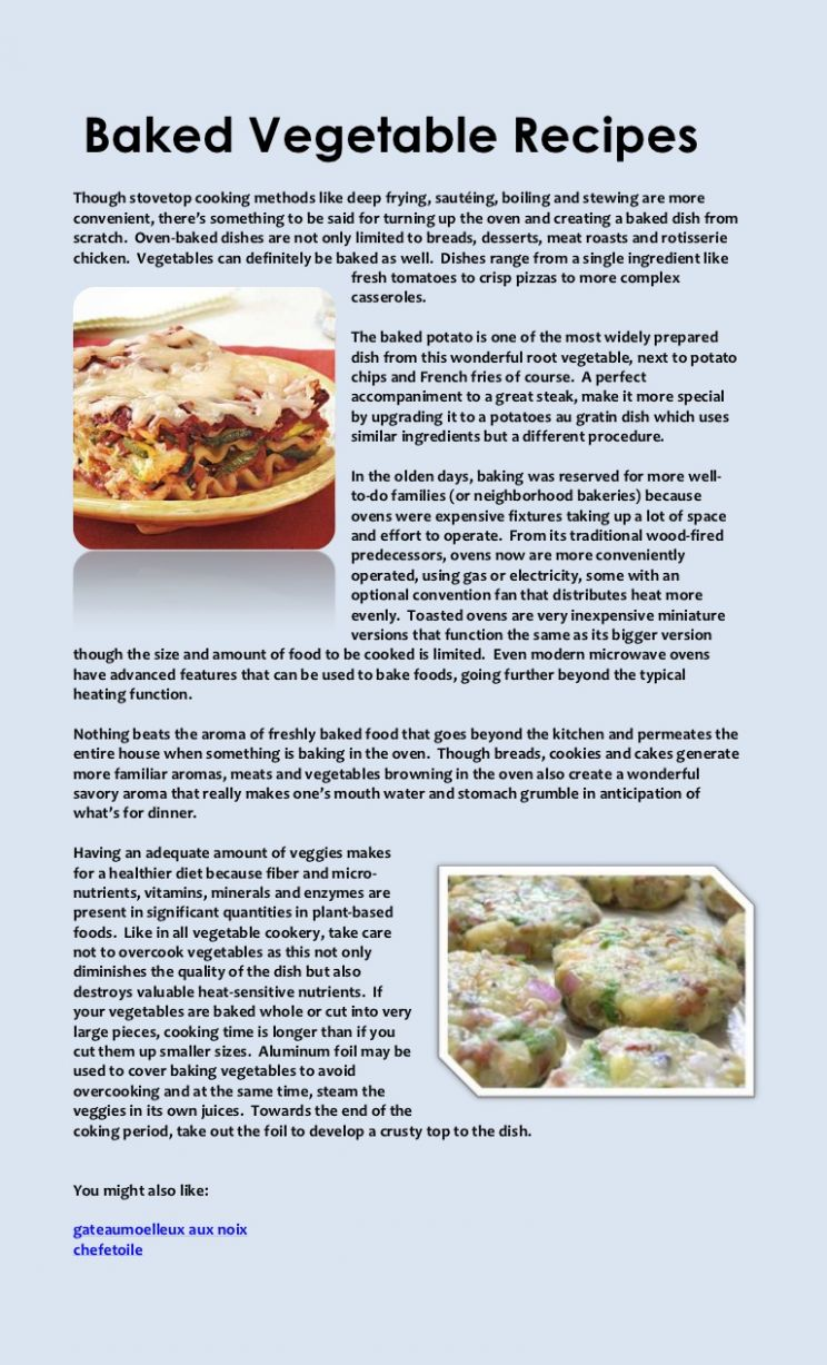 Baked vegetable recipes - Vegetable Recipes With Ingredients And Procedure