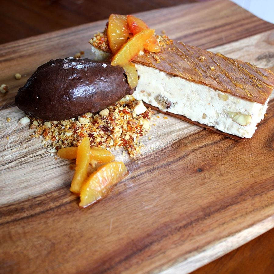 Baklava Parfait with Chocolate Sorbet and Walnut Praline Crumb ...