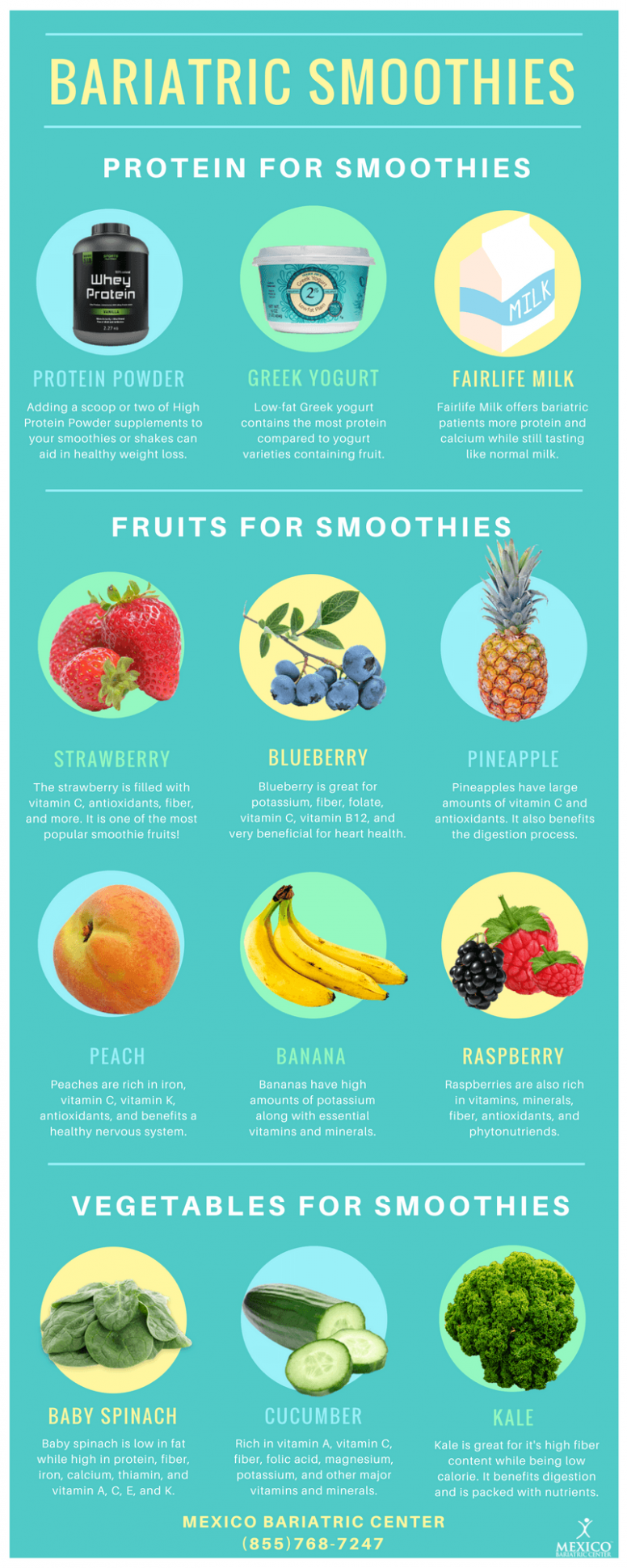 Bariatric Smoothies and Protein Shakes - Infographic - Post-Op Recipes - Recipe Weight Loss Protein Shake