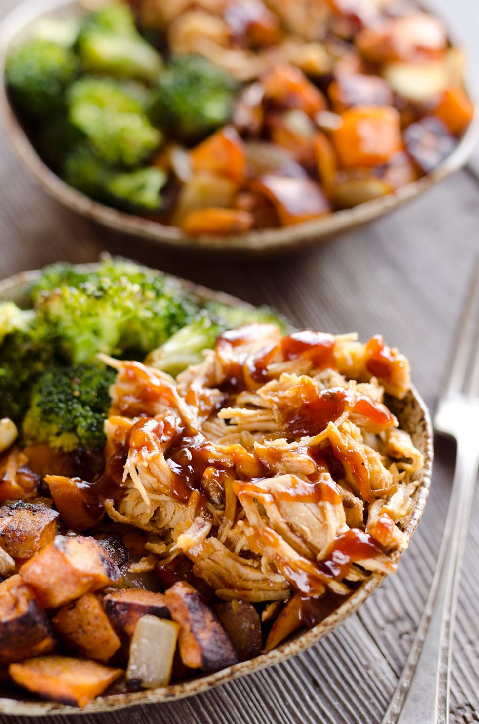 BBQ Chicken & Roasted Sweet Potato Bowls - Easy Meal Prep - Potato Recipes Easy Healthy