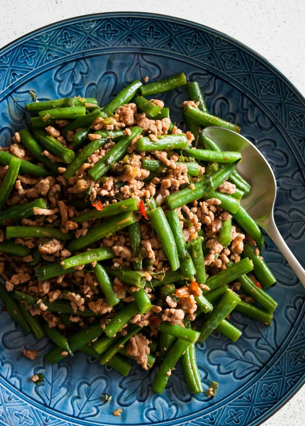 Beans and Pork Mince Stir Fry