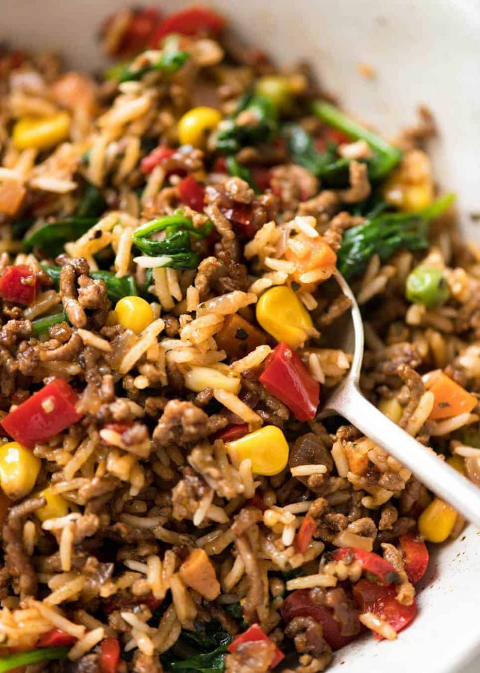 Beef and Rice with Veggies - Easy Recipes Mince