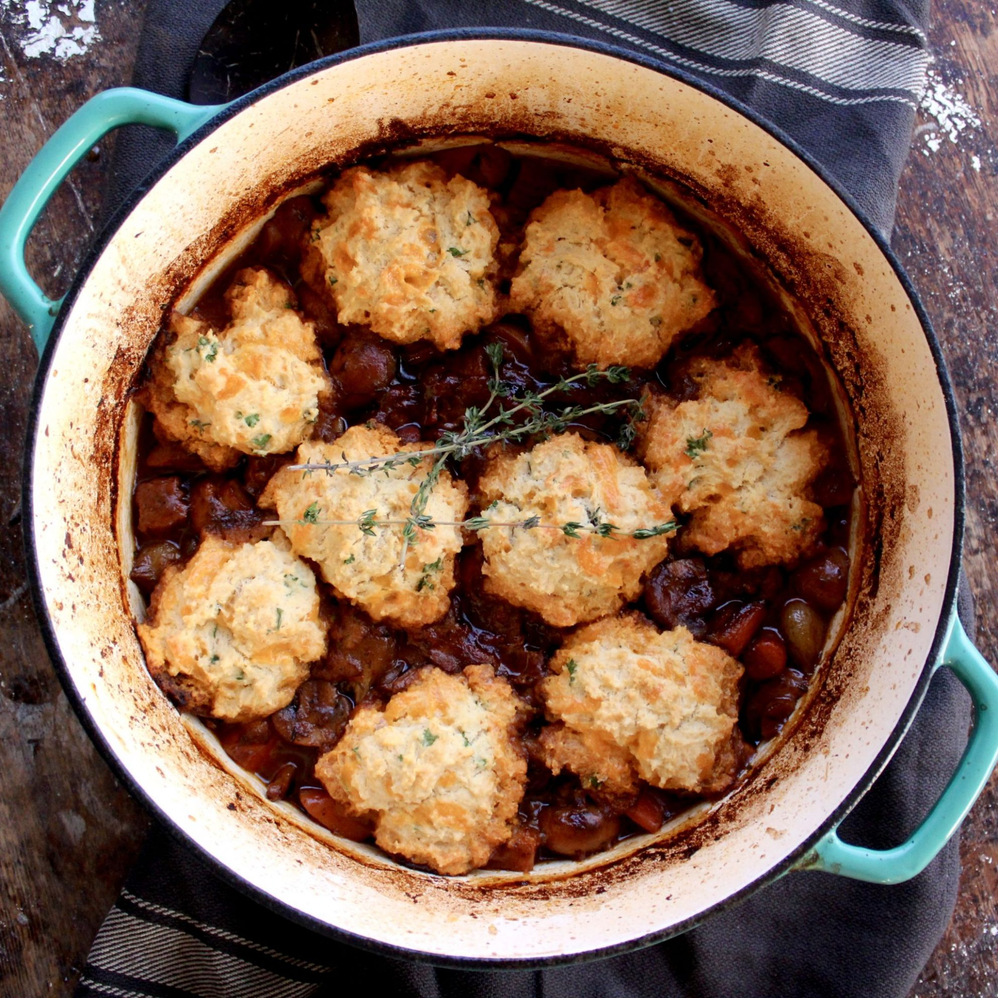 Beef Stew with Cheddar and Herb Dumplings