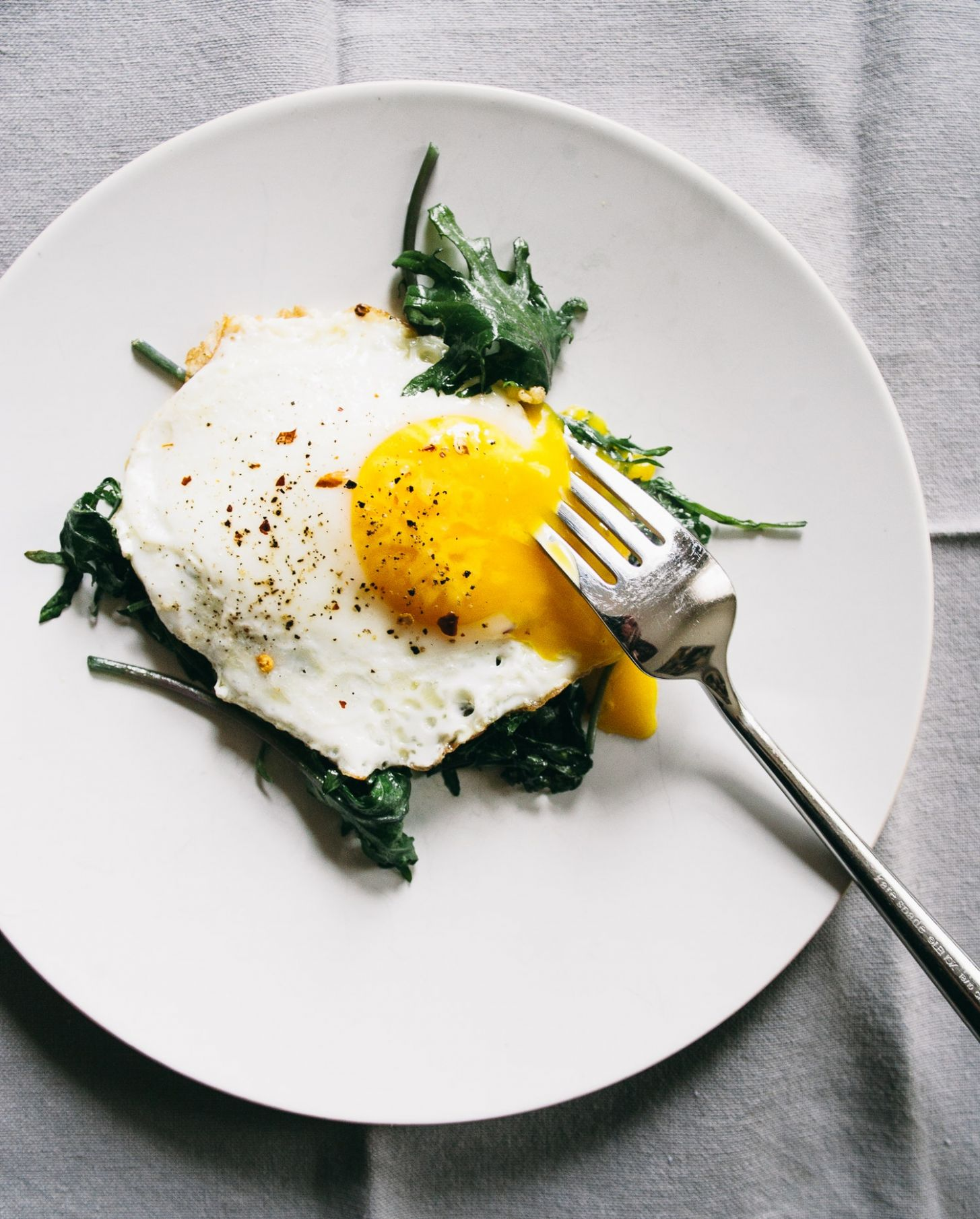 Best Sauteed Baby Kale with Eggs Over-Easy Recipe - Recipe Egg Over Easy