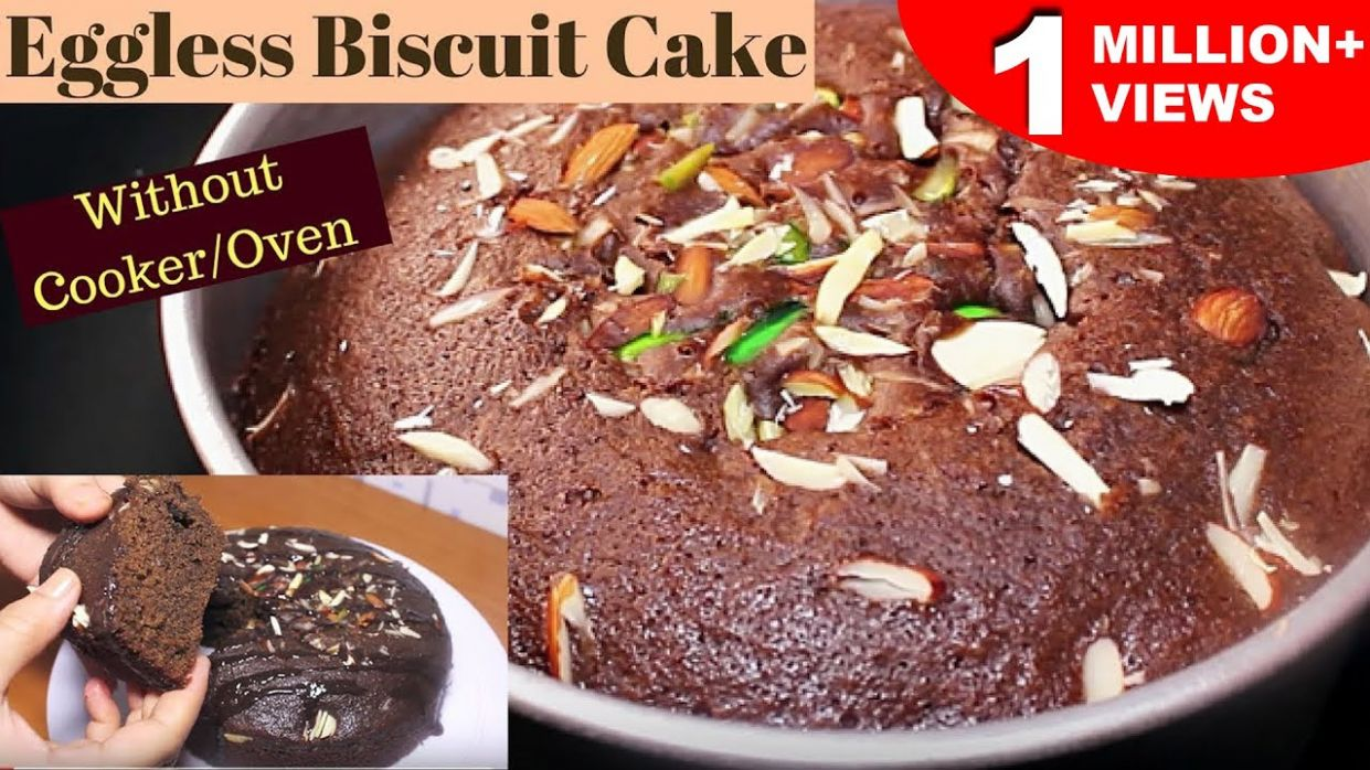 Biscuit Cake | How To Make Biscuit Cake Without Oven/Cooker | Eggless Cake  Recipes | Kanak's Kitchen