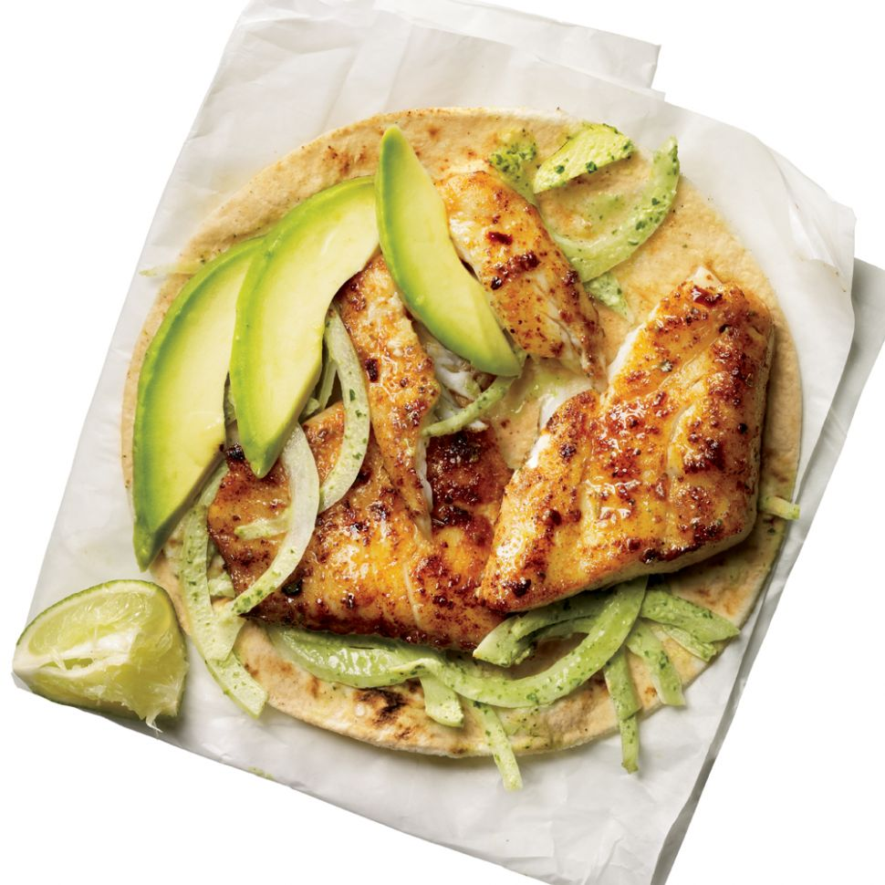 Blackened Tilapia Baja Tacos Recipe | MyRecipes