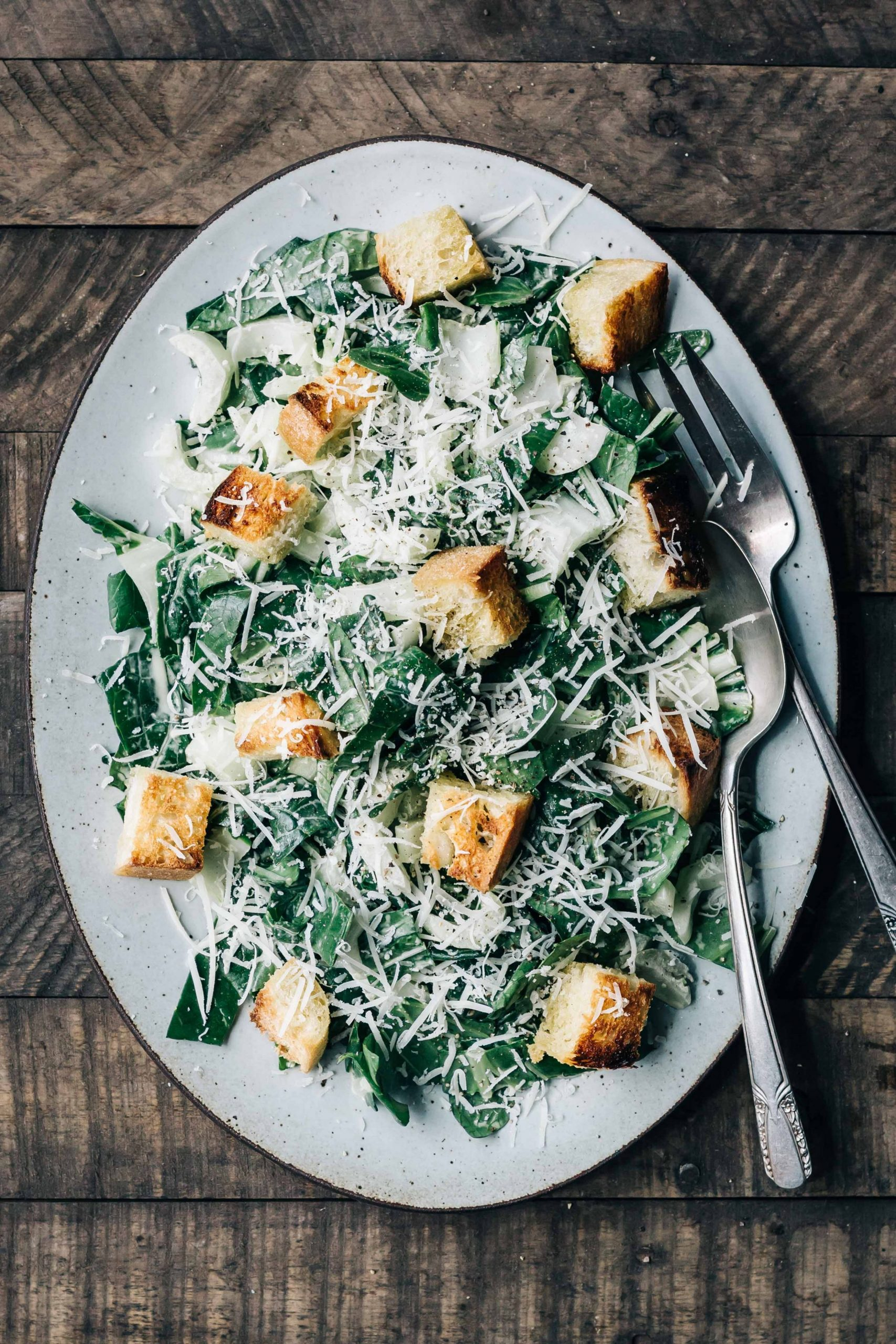 Bok Choy Caesar Salad with Spring Garlic Croutons - Dishing Up ...