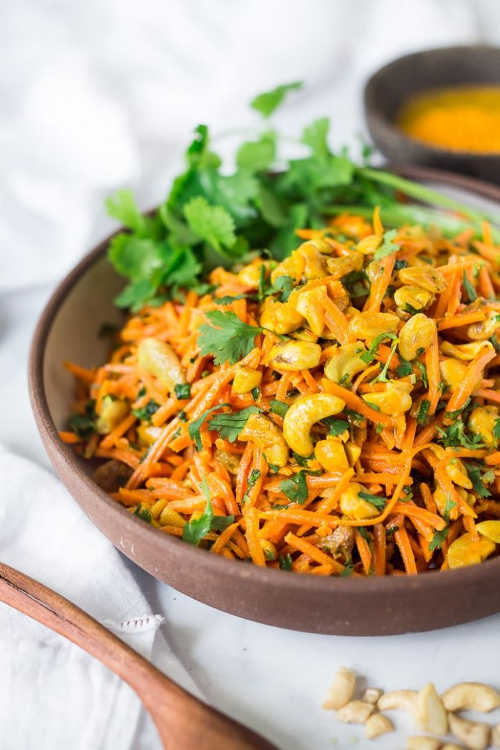 Bombay Carrot Salad with Cashews and Raisins | Feasting At Home - Salad Recipes Veg For Dinner
