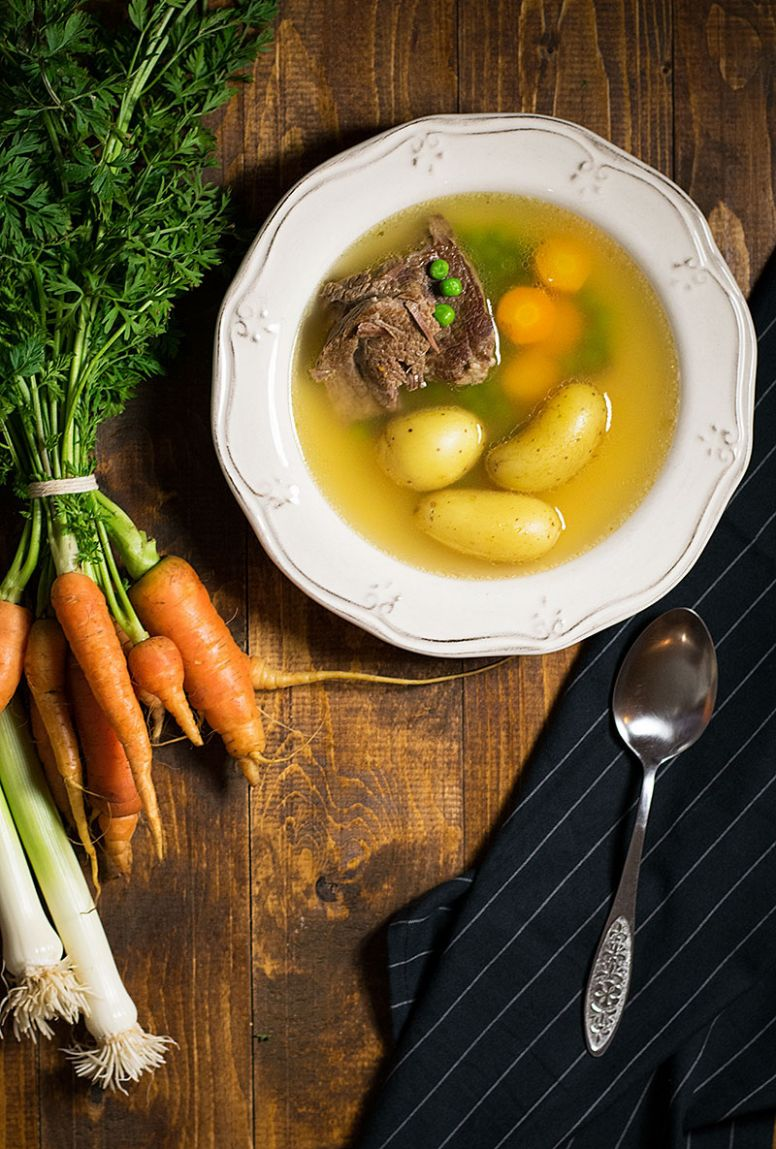 Bone broth soup with beef and vegetables