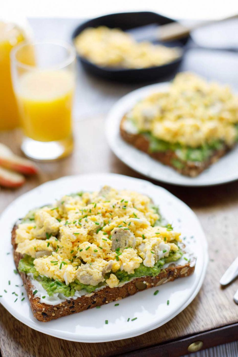 Breakfast Avocado Toast with Egg and Sausage - Two Healthy Kitchens - Breakfast Recipes Made From Bread
