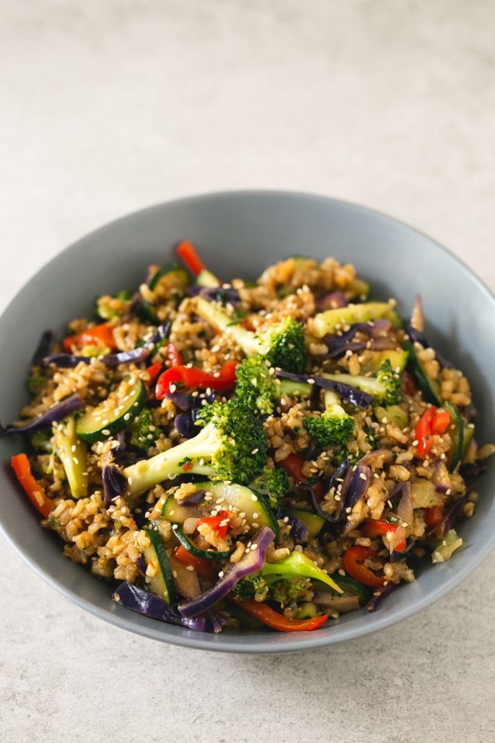 Brown Rice Stir-Fry with Vegetables - Recipes Rice Vegetables