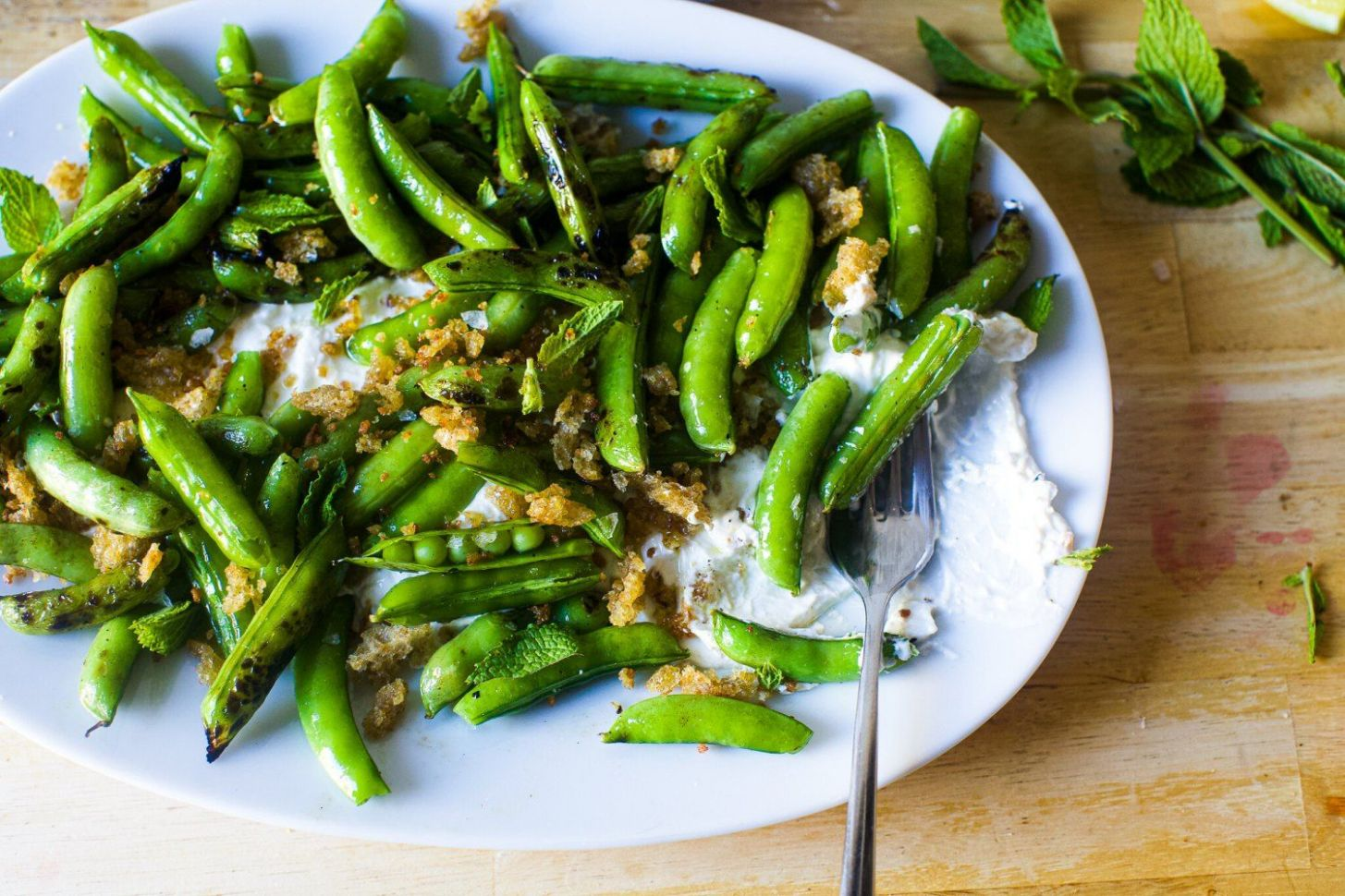 Burrata with Charred and Raw Sugar Snap Peas
