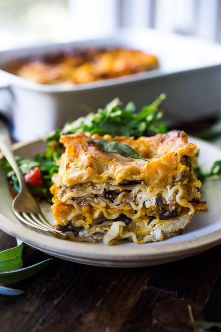 Butternut Lasagna with Mushrooms and Sage - Recipes Vegetarian Main Dishes