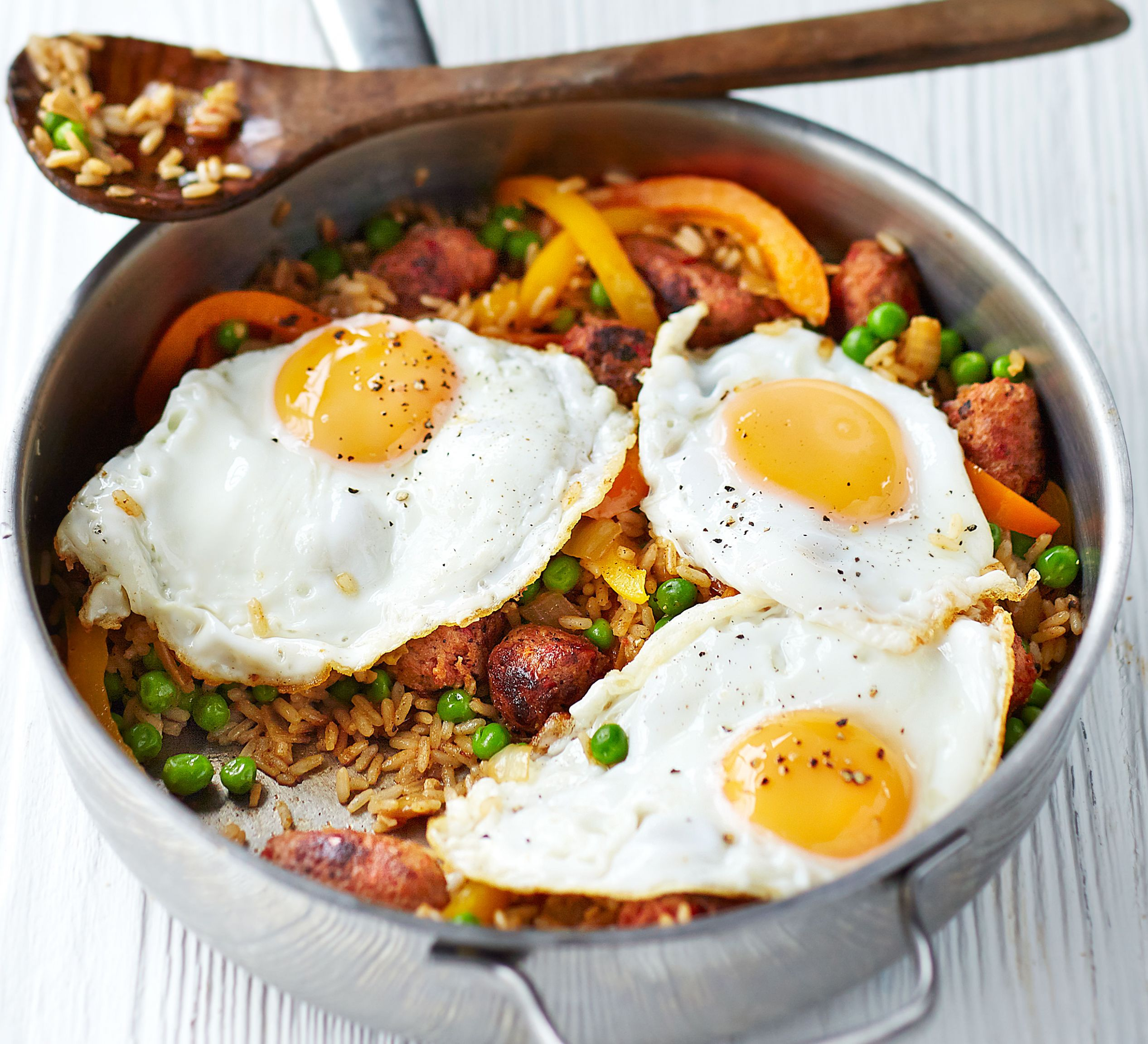 Cajun rice with chorizo meatballs & fried eggs - Recipes Rice And Eggs