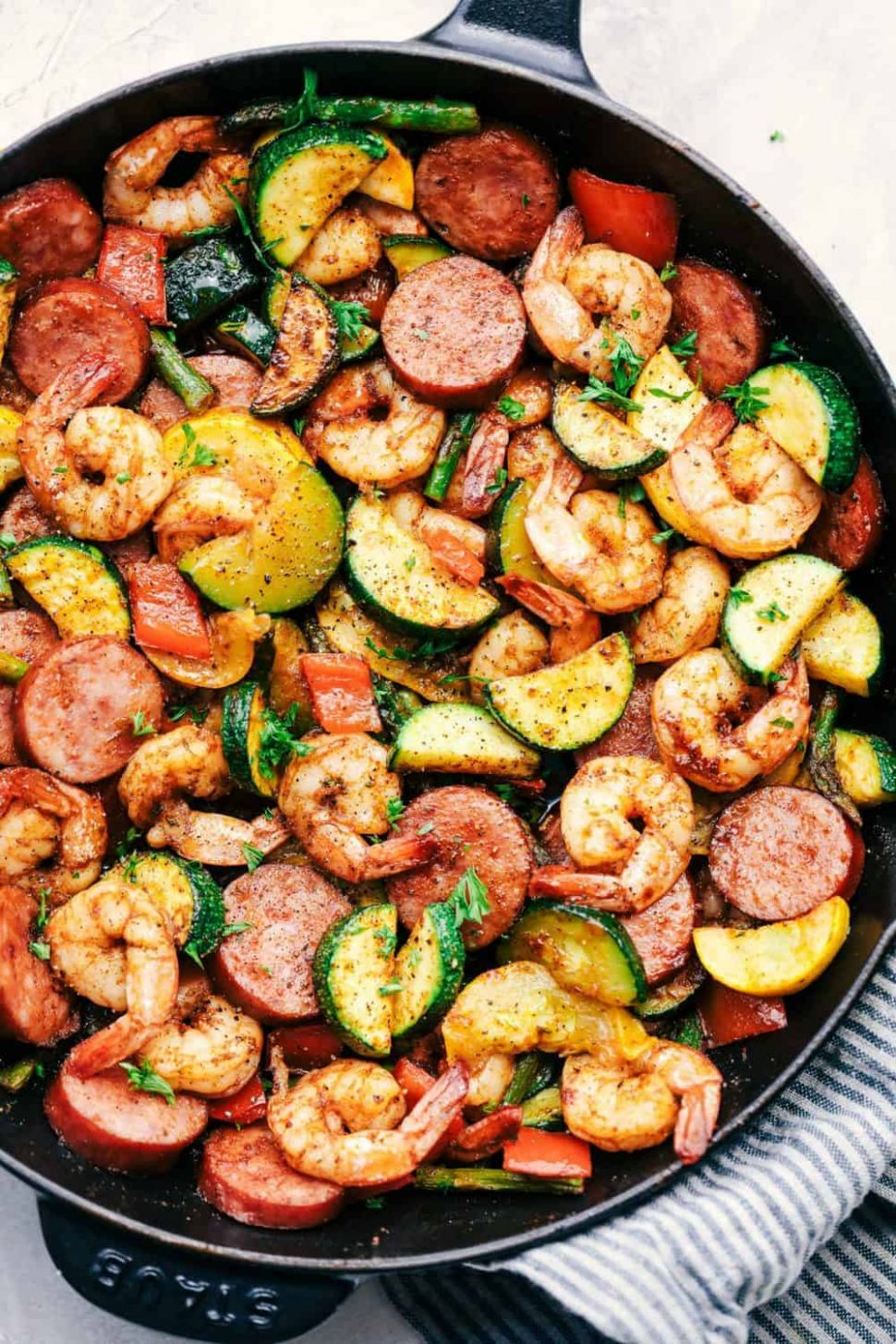Cajun Shrimp and Sausage Vegetable Skillet - Recipes With Summer Sausage