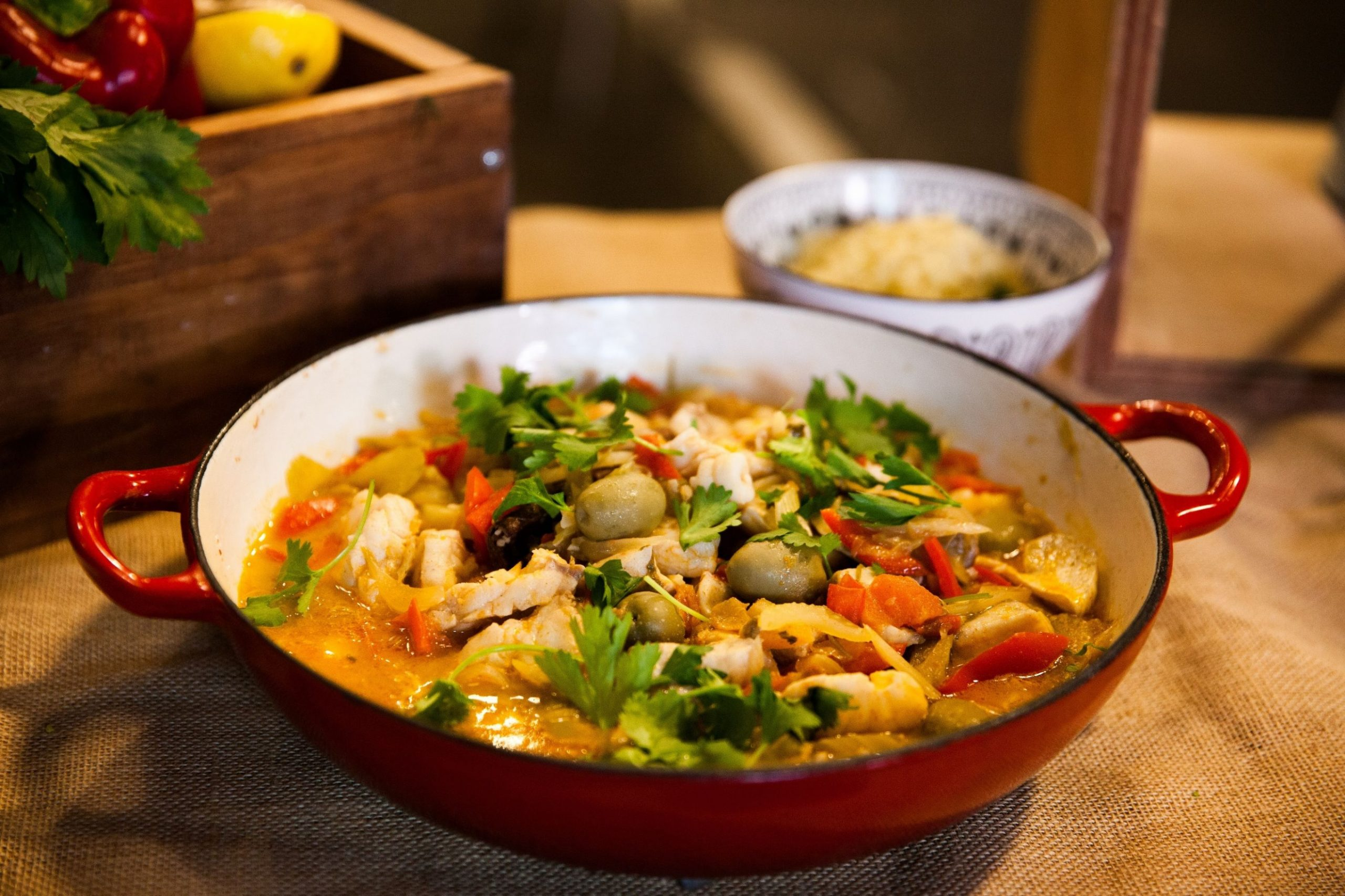 Central Market's fish tagine with preserved lemon and green olives - Recipe Fish Tagine