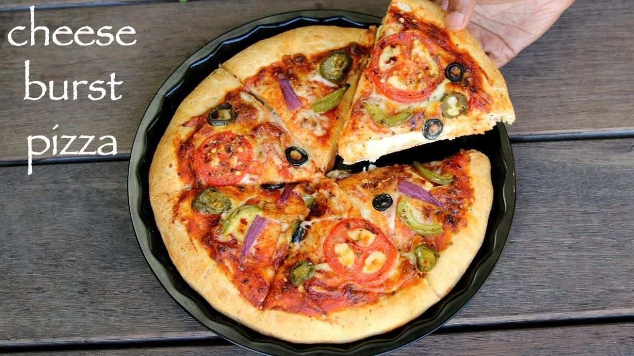 cheese burst pizza recipe   how to make dominos cheese burst pizza